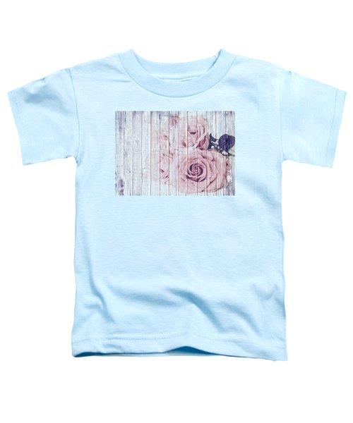 Vintage Shabby Chic Dusky Pink Roses On Blue Wood Effect Background Toddler T-Shirt
