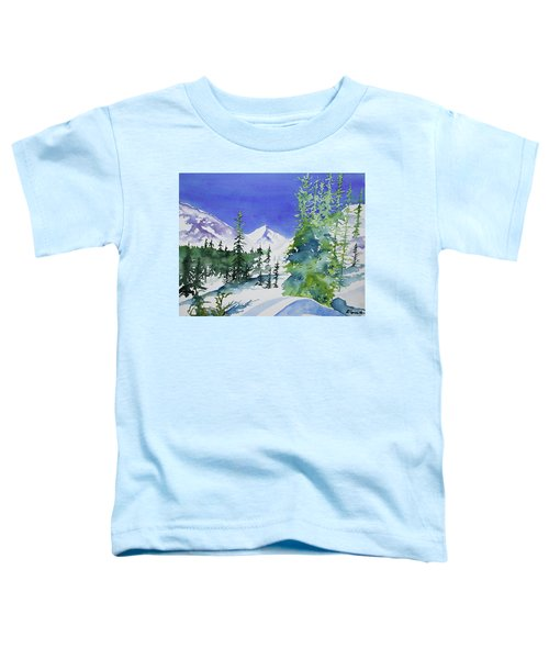 Watercolor - Sunny Winter Day In The Mountains Toddler T-Shirt