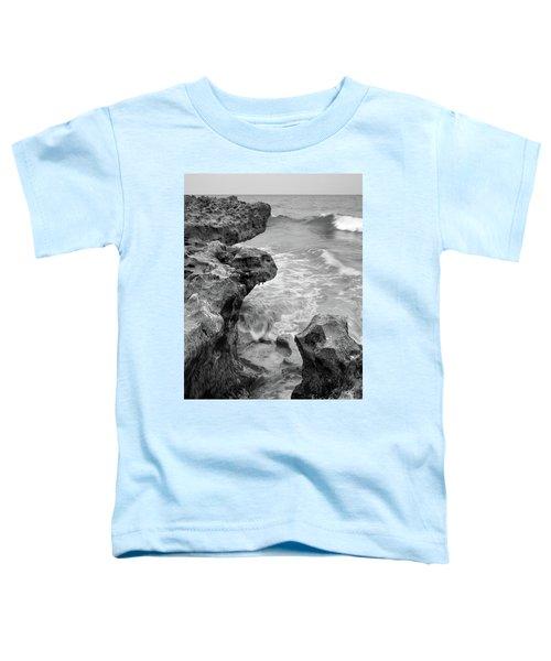 Waves And Coquina Rocks, Jupiter, Florida #39358-bw Toddler T-Shirt