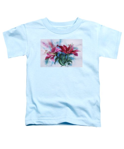 Wine Lillies In Pastel Watercolour Toddler T-Shirt