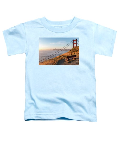 Wooden Bench Overlooking Downtown San Francisco With The Golden  Toddler T-Shirt