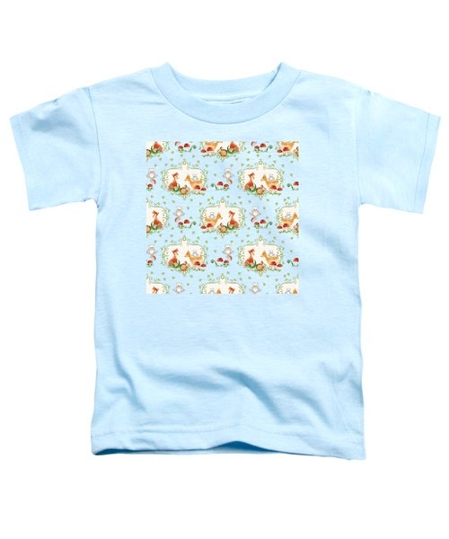 Woodland Fairy Tale - Mint Green Sweet Animals Fox Deer Rabbit Owl - Half Drop Repeat Toddler T-Shirt