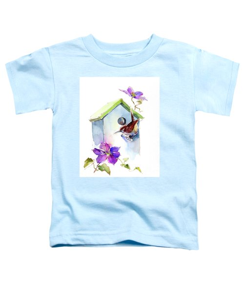 Wren With Birdhouse And Clematis Toddler T-Shirt