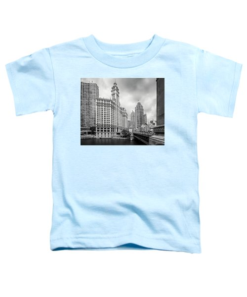 Toddler T-Shirt featuring the photograph Wrigley Building Chicago by Adam Romanowicz