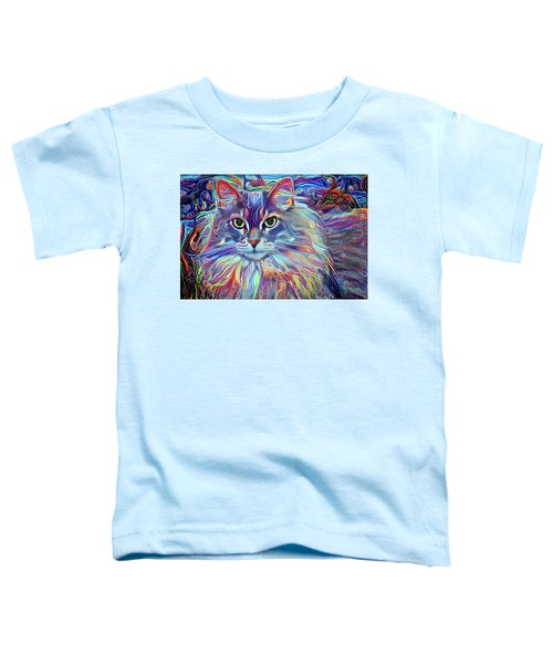 Colorful Long Haired Cat Art Toddler T-Shirt