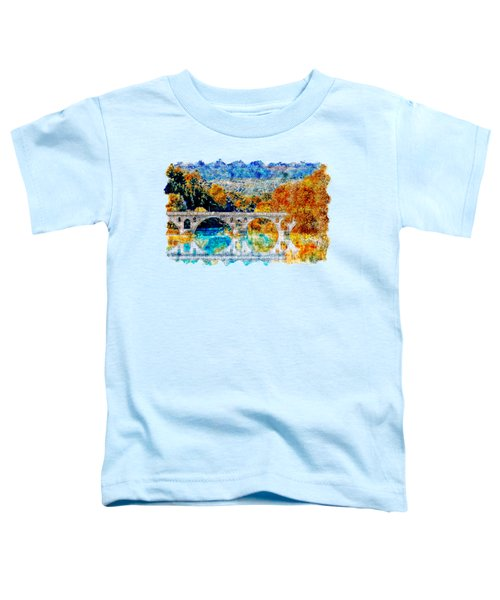 Lake Bridge Watercolor Drawing  Toddler T-Shirt