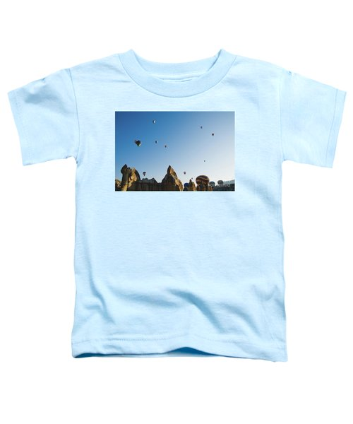Colorful Balloons Flying Over Mountains And With Blue Sky Toddler T-Shirt