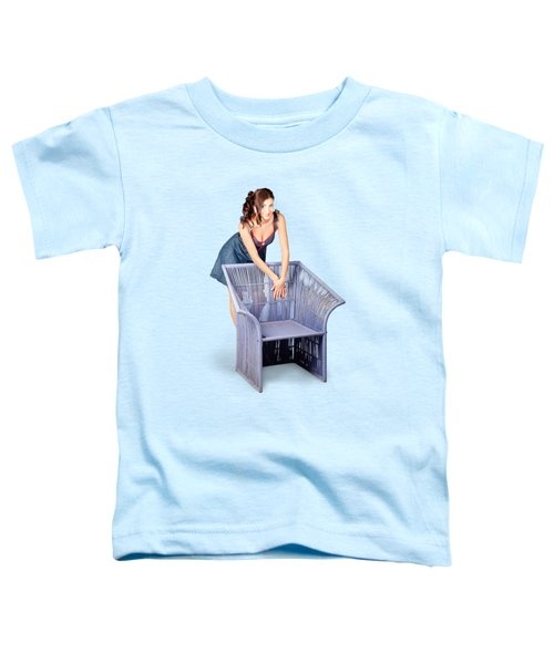 Beautiful Pin Up Woman Posing On Old Cane Chair Toddler T-Shirt
