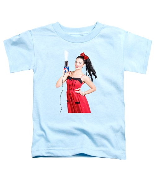 Beauty Style Portrait Of A Elegant Hairdryer Woman Toddler T-Shirt