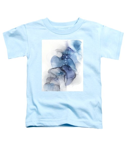 Blue Petal Dots Whispy Abstract Painting Toddler T-Shirt