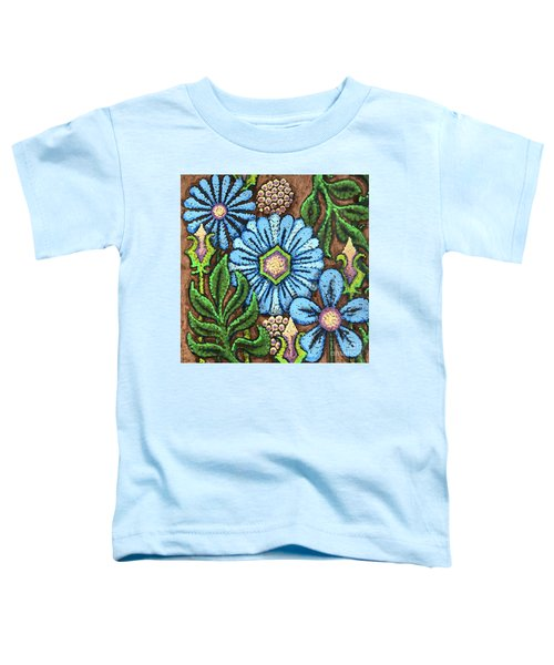 Brown And Blue Floral 1 Toddler T-Shirt
