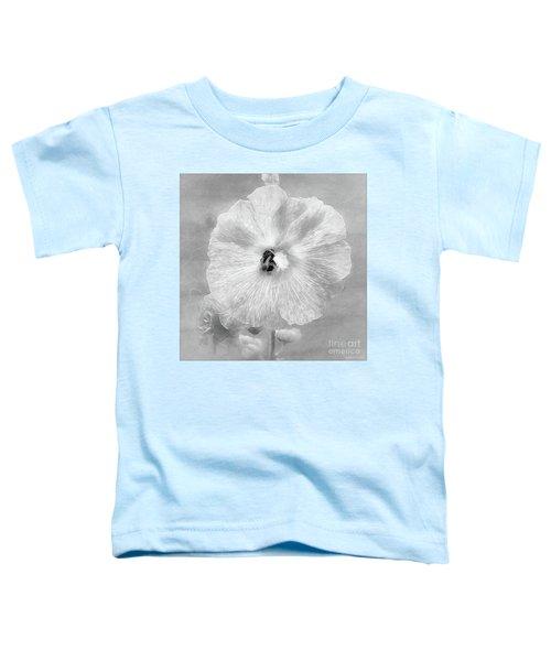 Bumblebee Snacking Delicate Hollyhock Bw Toddler T-Shirt