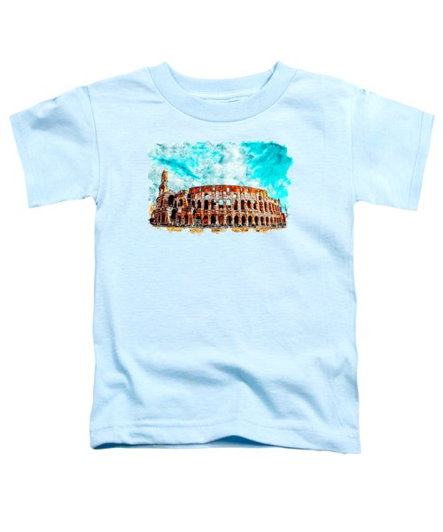Cityscape Watercolor Drawing - Amphitheater Ancient Arches Toddler T-Shirt