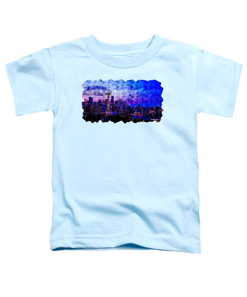 Cityscape Watercolor Drawing - Seattle Toddler T-Shirt