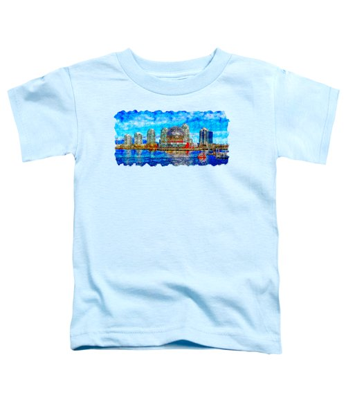 Cityscape Watercolor Drawing - Vancouver Toddler T-Shirt