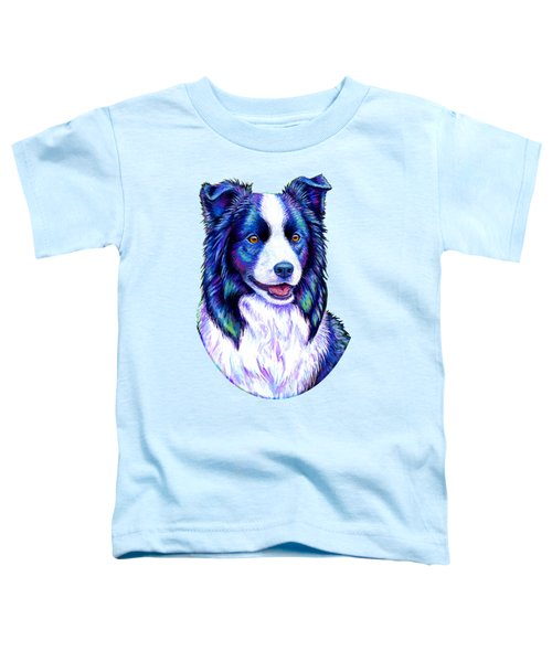 Colorful Border Collie Dog Toddler T-Shirt