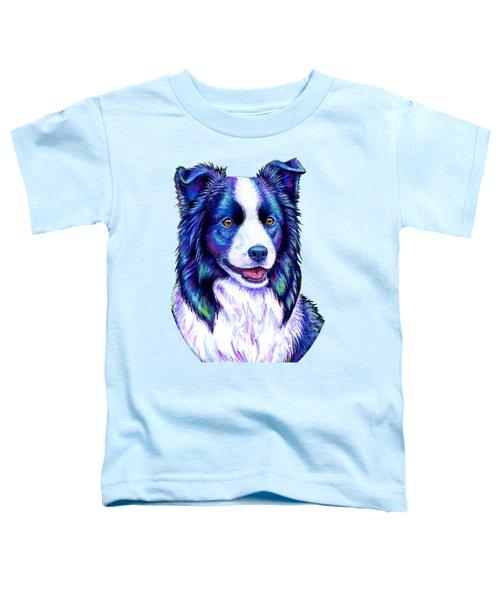 Colorful Border Collie Dog Toddler T-Shirt
