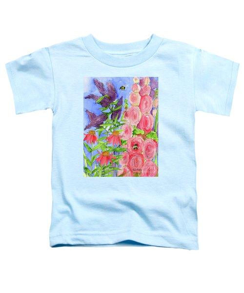 Cottage Garden Hollyhock Bees Blue Skie Toddler T-Shirt