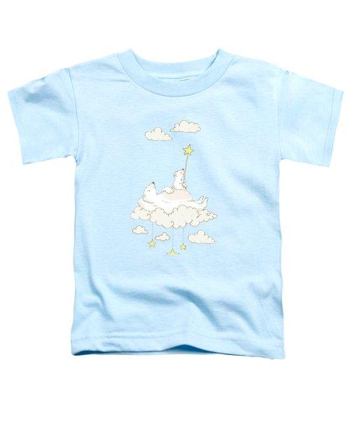 Cute Polar Bears On Cloud Whimsical Art For Kids Toddler T-Shirt