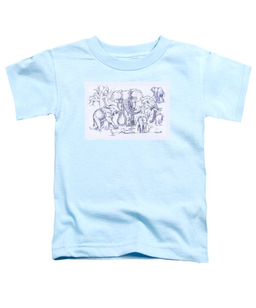 Elephant And Cattle Egrets Sketches Toddler T-Shirt