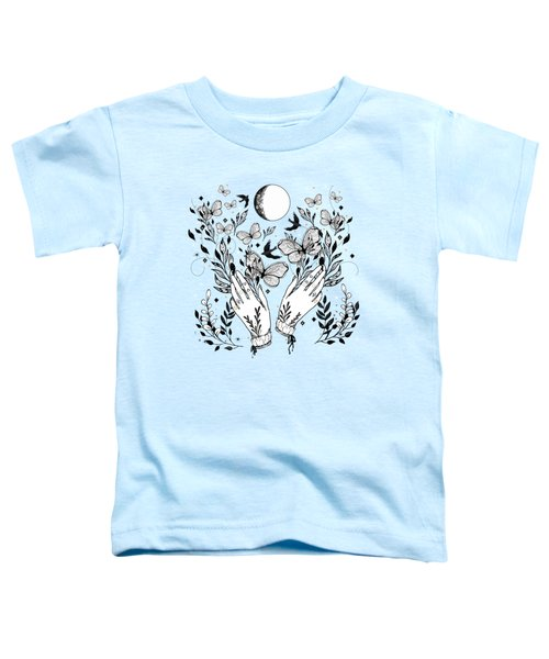 Full Moon Magic Of Nature With Blackbirds And Butterflies Toddler T-Shirt