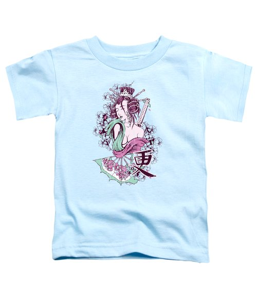 Geisha Mint Green And Pink Toddler T-Shirt