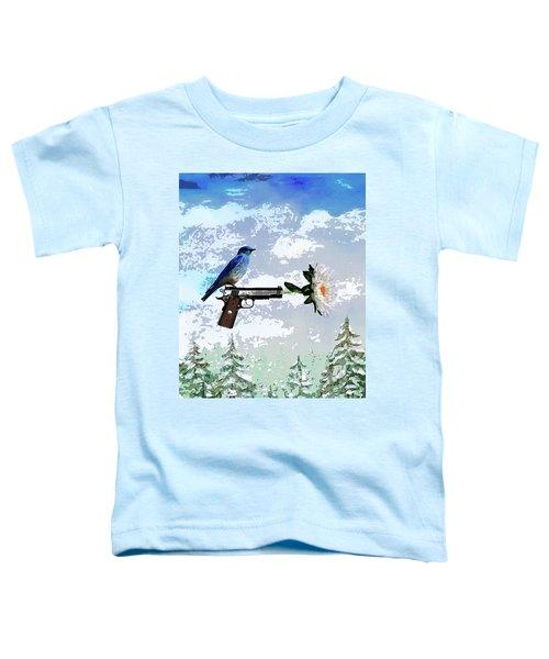Bluebird Of Happiness- Flower In A Gun Toddler T-Shirt