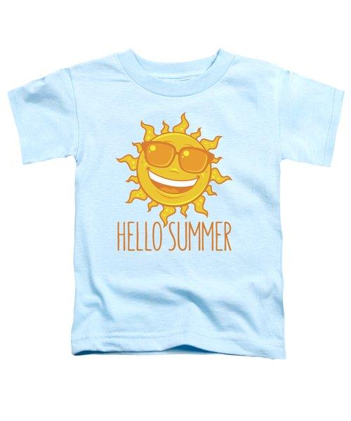 Hello Summer Sun With Sunglasses Toddler T-Shirt