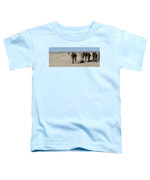 Herd Of Camels Crossing The Highway Near  Rissani Toddler T-Shirt