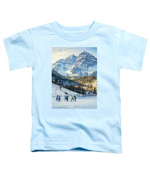 Hockey On Maroon Lake Maroon Bells Aspen Colorado Toddler T-Shirt