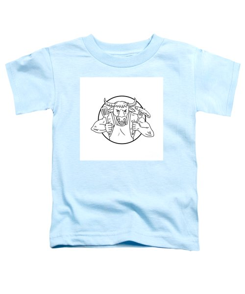 Longhorn Bull Holding Barbecue Sausage Drawing Black And White Toddler T-Shirt