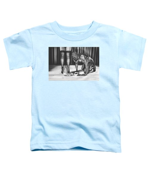 Man With Mask On His Knees Beside His Mistress Toddler T-Shirt