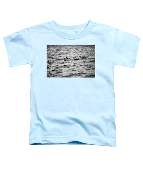 Mother Dolphin And Calf Swimming In Moreton Bay. Black And White Toddler T-Shirt