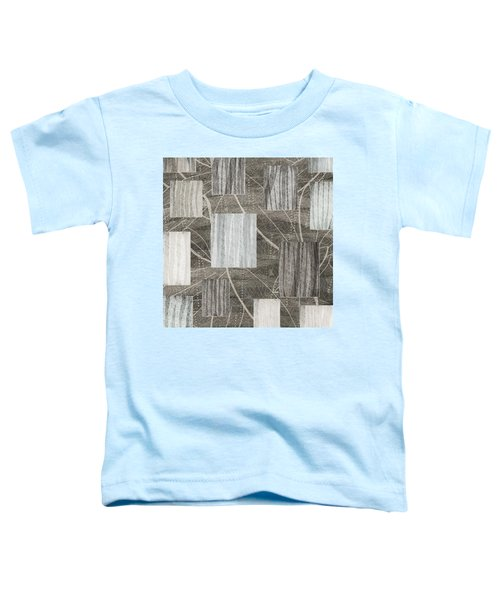 Neutral Leaf Print Squares Cream Toddler T-Shirt