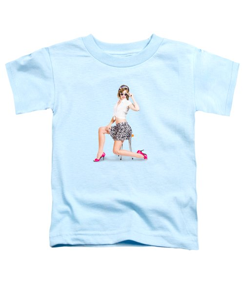 Retro Brunette Pin Up Girl In Sixties Fashion Toddler T-Shirt