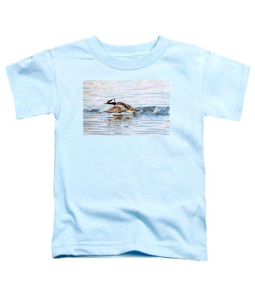 Running Take Off -- Hooded Merganser Toddler T-Shirt