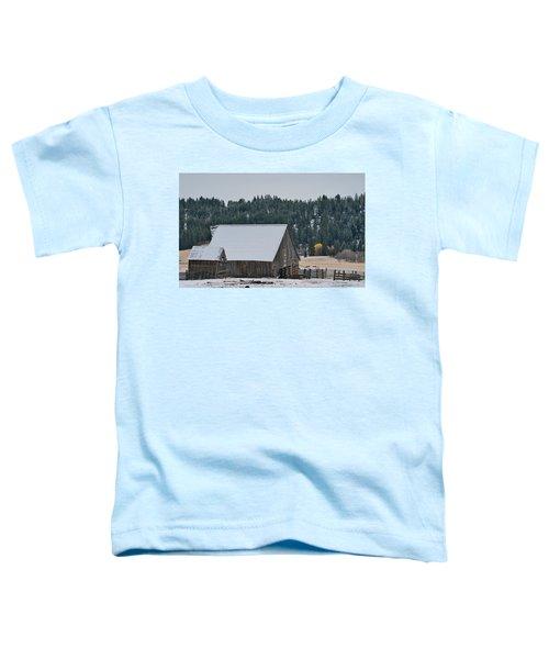 Snowy Barn Yellow Tree Toddler T-Shirt