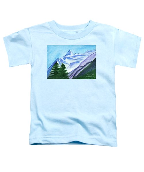 Two Mountain Spruce Against The Backdrop Of Snow-capped Peak Toddler T-Shirt