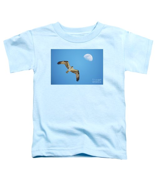Soaring Osprey And Gibbous Moon Toddler T-Shirt