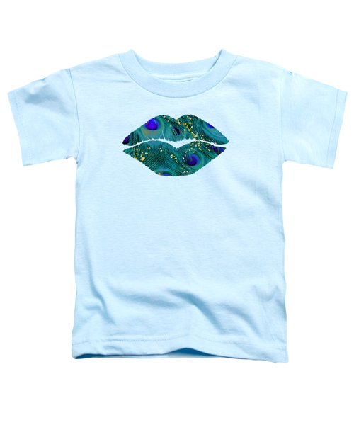 Teal Peacock Lips Kissing Mouth Fashion Art Toddler T-Shirt