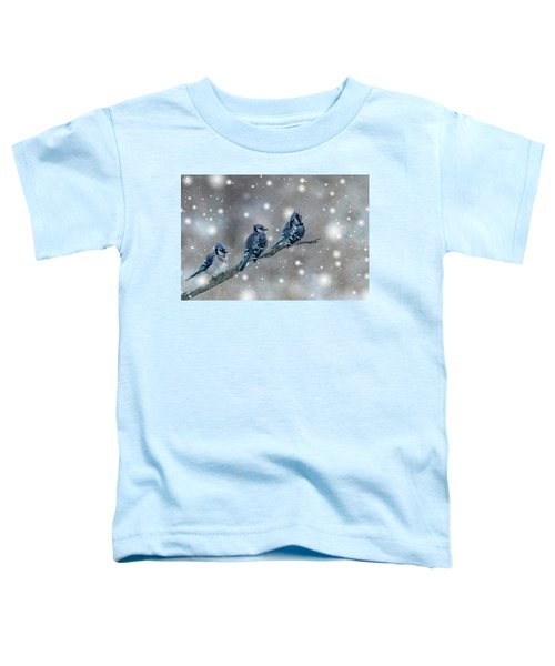 Three Blue Jays In The Snow Toddler T-Shirt