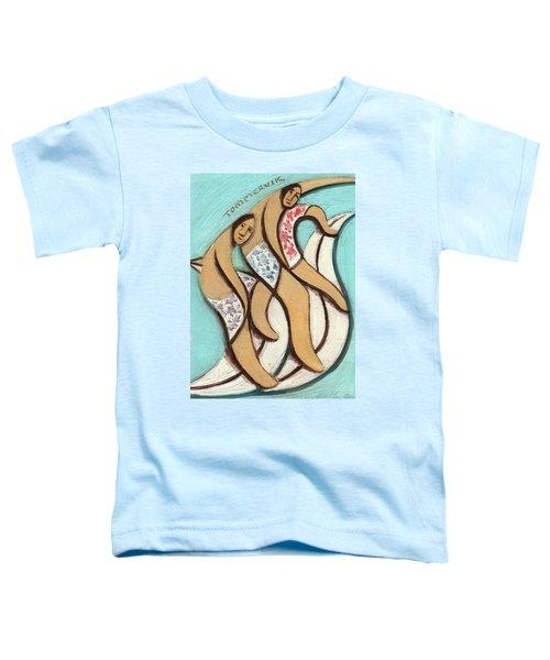 Tommervik Abstract Hawaiian Surfers Surfing Pipline Art Print Toddler T-Shirt