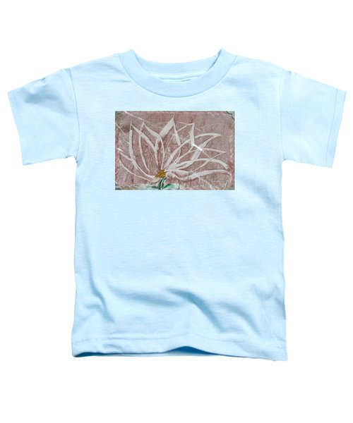 White Abstract Floral On Silverpastel Pink Toddler T-Shirt