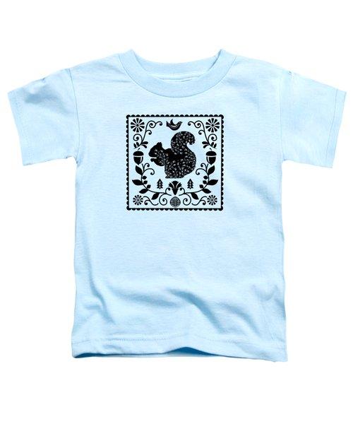 Woodland Folk Black And White Squirrel Tile Toddler T-Shirt