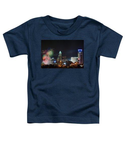 4th Of July Firework Over Charlotte Skyline Toddler T-Shirt