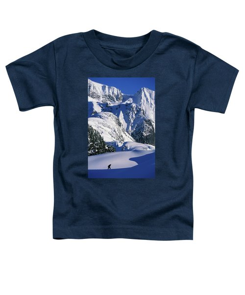 A Female Snowboarder Hiking Toddler T-Shirt