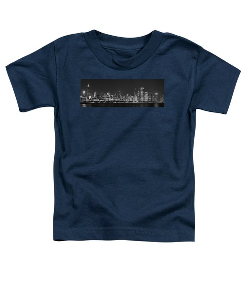Chicago Skyline At Night Black And White Panoramic Toddler T-Shirt by Adam Romanowicz