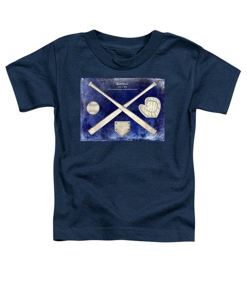 1838 Baseball Drawing 2 Tone Blue Toddler T-Shirt
