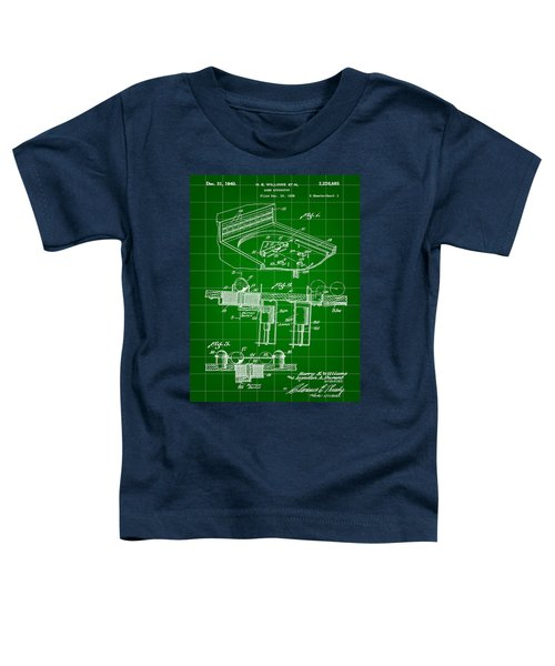 Pinball Machine Patent 1939 - Green Toddler T-Shirt by Stephen Younts