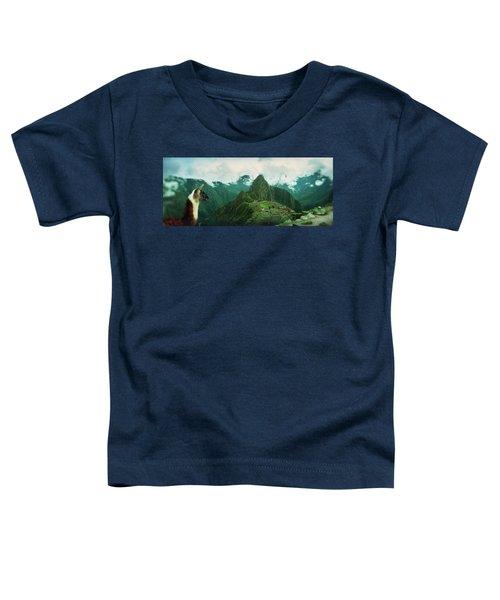 Alpaca Vicugna Pacos On A Mountain Toddler T-Shirt